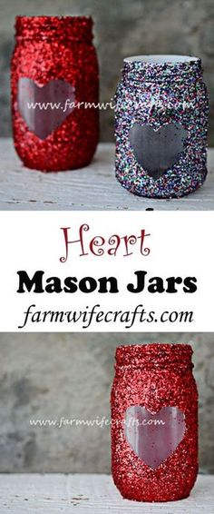 Check out this easy idea on how to make #DIY heart mason jars for #ValentinesDayDecor #ValentinesDayCrafts #ValentinesIdeas @istandarddesign