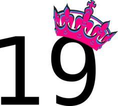 Pink Tilted Tiara And Number 19 Clip Art
