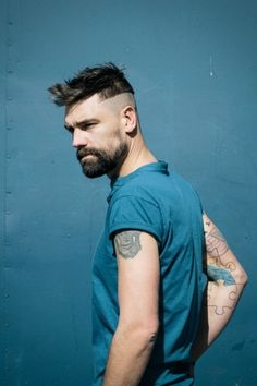 Haircut, Hair, Beard, Tattoo, Blue