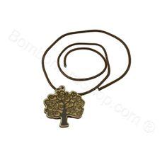 Ciondolo Albero della Vita in metallo argentato e legno