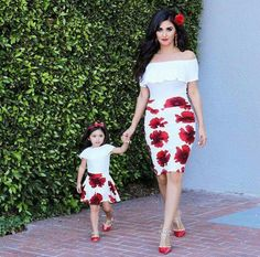 """What colorful skirts Mommy and I have! Mother Daughter Poses, Mother Daughter Matching Outfits, Mother Daughter Fashion, Mommy And Me Outfits, Mom Daughter, Family Outfits, Girl Outfits, Daughters, African Dresses For Kids"