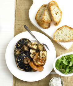 Roast+mushrooms+with+goat's+curd