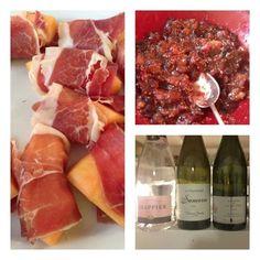 Paris: started meal w Corsican ham & charentais melon; fresh fig compote w mi-cuis foie gras from Fauchon; nice wine!