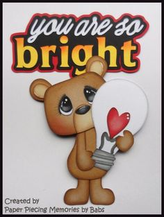 Bright Bear Set Premade Paper Piecing Die Cut for Scrapbook Page by Babs