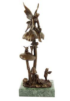 Forest Elves on Mushrooms - Art Nouveau Sculpture by Milo