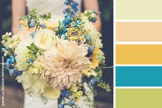 Wedding color palette yellow blue and green with image by Shanelle Bledsoe Photography. | The Pink Bride® www.thepinkbride.com