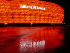Allianz Arena – Munich, Germany  The Allianz Arena is covered in 2,874 of tufted translucent material (air cushions) and is the world's biggest facade made of foil. The stadium is lit from inside, resulting in the entire arena glowing.