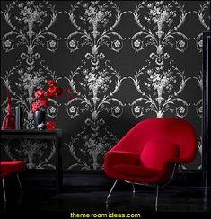 De Lacey Black wallpaper moulin rouge theme bedrooms romantic themed bedrooms decorating ideas