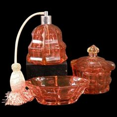 Antique CUT Cranberry Glass Perfume Bottle Powder Jar Dresser Box Set : Antique Matchmaker | Ruby Lane