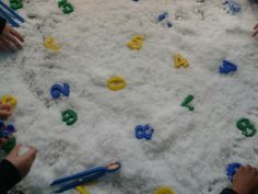 Numbers in the snow with tweezers