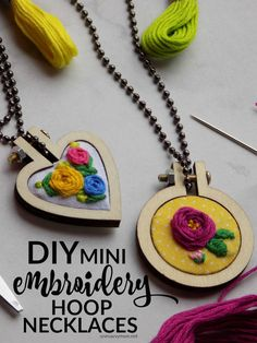 DIY Mini Embroidery Hoop Necklaces + Super Simple Embroidered Rose How-To