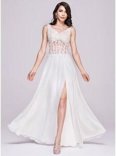 A-Line/Princess V-neck Floor-Length Chiffon Lace Evening Dress With Beading Appliques Lace Sequins Split Front