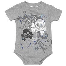amy coe Boys Skull Bodysuit - Grey (12 Months)