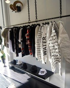 A-MEN - Men style and fashion, tailoring, sartorial tips, male grooming and menswear fashion shows and collections. All in pure hedonistic style. Boutique Interior, Clothing Store Interior, Clothing Store Displays, Clothing Store Design, Kids Clothing, Hypebeast Room, Vitrine Design, Retail Store Design, Store Interiors