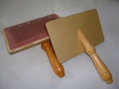 Pair of hand carders  for carding wool and fibre by WheelsandWool, £35.00