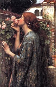 The Soul of the Rose  1908 by John William Waterhouse. This one that I bought, frame and all, for about $12 several years ago sells for $208. Amazing.