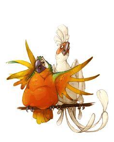illustration, animal, bird, parrot. Dump by E_a_s_y Erika