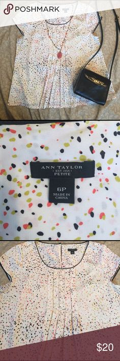 Ann Taylor silky top size 6 petite Pretty dot print Ann Taylor top with cap sleeves and pleated front. Very cute! Ann Taylor Tops