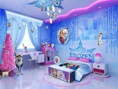 Beautiful Disney Princess Bedroom Decor Ideas For Little Girl - Frozen Girls Bedroom, Disney Princess Bedroom, Cute Girls Bedrooms, Princess Bedrooms, Disney Bedrooms, Disney Frozen Bedroom, Bedroom Girls, Disney Nursery, Frozen Inspired Bedroom