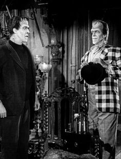 Herman and his twin brother (Fred Gwynn) in The Munsters