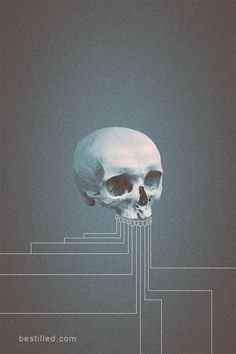 """""""Circa B"""" - blue skull with geometrical lines extending from teeth against a bare background. Surreal abstract art by Joseph Westrupp, bestilled.com. Click the image to buy a giclee print or T-shirt (options include frames, canvases, metal prints, and more). Thanks very much for looking."""