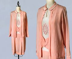 1920s Dress / 20s Pink Day Dress / by GuermantesVintage on Etsy