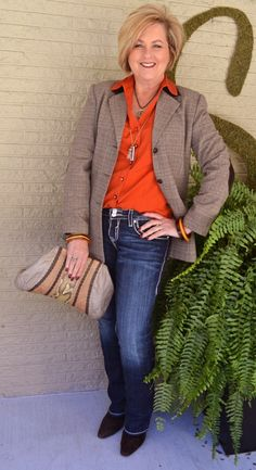 Fashion over 40  Fall colors with a tweed jacket  @50isnotold.com