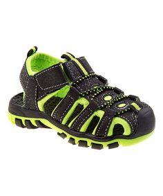 Black & Lime Rugged Sandal