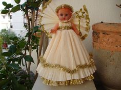 Vintage/ Antique doll Christmas angel/fairy doll/tree topper -approx.8''. $30.00, via Etsy....so cute!