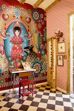 """Walking through a Catalina Estrada-wallpapered room feels like an acid trip . . . in a good way.""  - via Anthology"