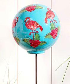 Take a look at this Ceramic Flamingo-Print Gazing Ball today!