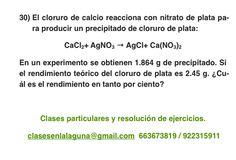 Ejercicio 30. Tema: Rendimiento (reacciones químicas)