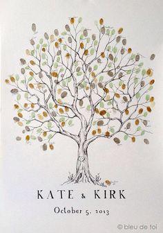 Finger print tree guest book idea.
