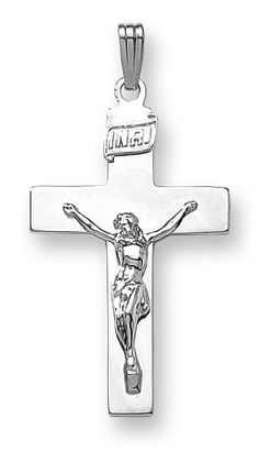 14k white gold large solid two-tone crucifix, 20 inch chain included.