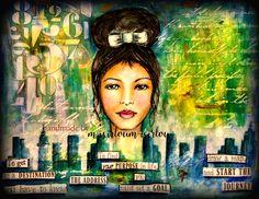 handmade by misirloumisirlou https://www.facebook.com/Misirloumisirlou/ #whimsicalface  #mixedmedia #whimsical #mixedmediaface #mixedmediacanvas #acrylics