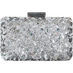 Oscar De La Renta Rogan Sequin Box Clutch ($1,490) ❤ liked on Polyvore featuring bags, handbags, clutches, sequin purse, clasp handbag, clasp purse, silver box clutch and box clutch