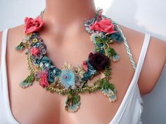 handmade braid Fabric Necklace hand embroidery - seragun - Collars
