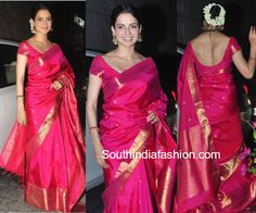 kangana_ranaut_traditional_saree_aggarwals_wedding