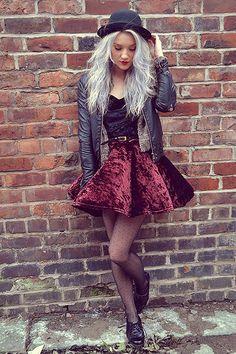 velvet sk8 skirt, and hat