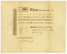 Baltimore Insurance Company, 9 March 1797, 1 Share of Capital Stock á US-$ 100, #771, 20 x 24.7 cm, black, beige, folds, OU. The earliest American insurance share we know of.