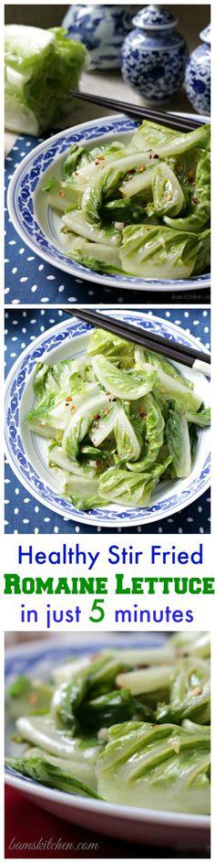 Healthy Stir Fried Romaine Lettuce / GLUTEN-FREE/ VEGAN/ DIABETIC FRIENDLY/ CARDIAC FRIENDLY/ QUICK and EASY/ http://bamskitchen.com