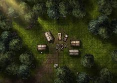 Adventurer camp, a printable and online battle map for Dungeons and Dragons / D&D, Pathfinder and other tabletop RPGs. Tags: forest, camp, tent, campfire, rest, fantasy, encounter, ambush, combat, print, roll20, fantasy grounds