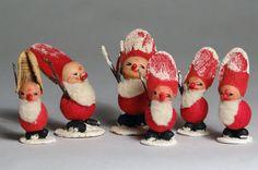 Vintage Lot of 6 Spun Cotton Christmas Santa's or Elves | eBay