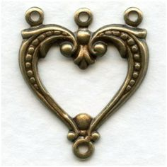 Three Strand Heart Shaped Connectors Oxidized Brass - VintageJewelrySupplies.com Heart Shapes, Third, Brass, Brooch, Jewelry, Jewellery Making, Jewelery, Brooches, Jewlery