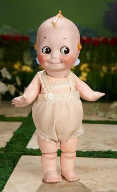 """I Only Wanted to Wonder"" - August 114 German Bisque Kewpie by Kestner with Glass Eyes, Original Body, in Rare Size 12 Old Dolls, Antique Dolls, Vintage Dolls, Cupie Dolls, Kewpie Doll, Sonny Angel, Blue Wings, Creepy Dolls, Miniature Dolls"