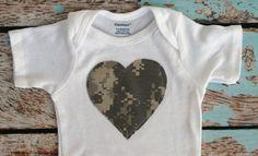 ACU Army baby Heart applique onesie and heart by OATMEALandBARLEY, $9.00