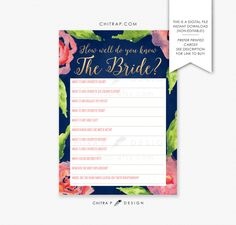 Navy & Pink Bridal Shower Game - Printed or Printable, How Well Do You Know the Bride Floral Coral Watercolor Brunch Gold Rose Blue SHOP : chitrap.etsy.com