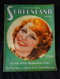 Screenland Magazine Nov 1936 Jeanette MacDonald Art Deco Great Adverts Glamour | eBay