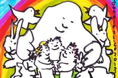 Rainbow Huddle  original drawing by doodleslice on Etsy, $50.00