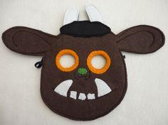 Ein Gruffalo inspiriert Maske aus Filz mit einem Stück Filz als hinten um sicherzustellen, dass Kratzen nicht. Elastisch ist genäht, beidseitig im